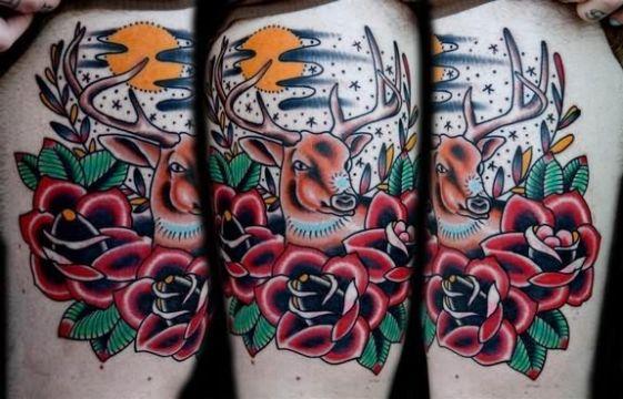tatuajes de ciervos con flores estilo tradicional americano