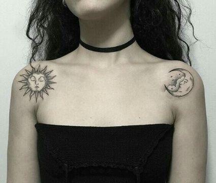 tatuajes de sol con luna en hombros