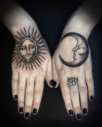 tatuajes de sol con luna en manos