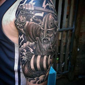 tatuajes de barcos vikingos con personajes