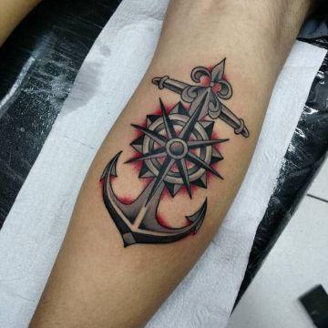 tatuajes de barcos y anclas rasgos tradicional americano