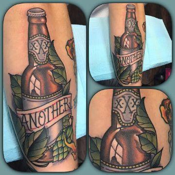 tatuajes de botellas de cerveza tradicional americano