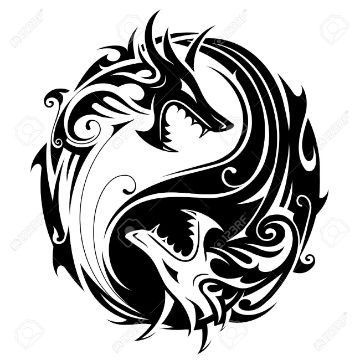 tatuajes de yin yang con dragon plantilla tribal
