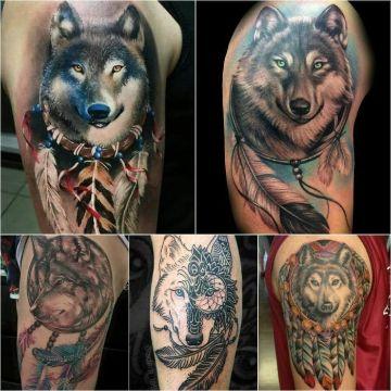 tatuajes de atrapasueños con lobos estilos
