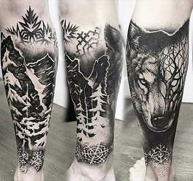 tatuajes de bosques con lobos piernas