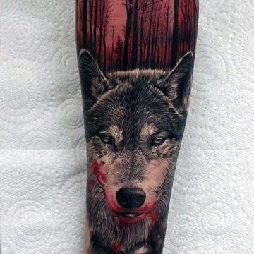 tatuajes de bosques con lobos rostros
