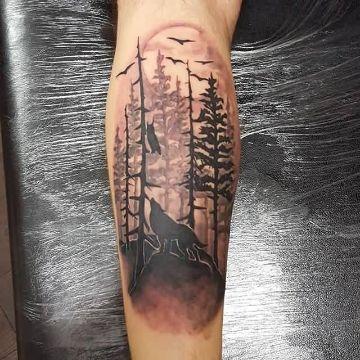 tatuajes de bosques con lobos siluetas