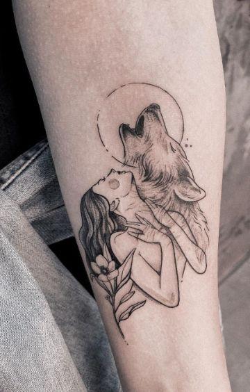 tatuajes de indias con lobos lineas tenues