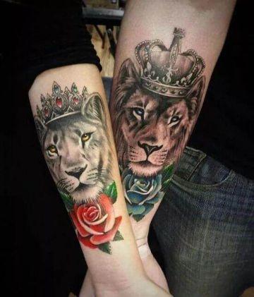 tatuajes de leon y leona para parejas