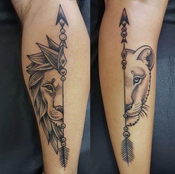 tatuajes de leon y leona que se complementan