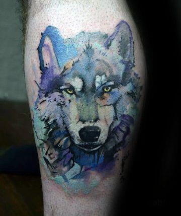 tatuajes de lobos en acuarela textura genial