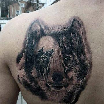 tatuajes de lobos en la espalda concepto visual