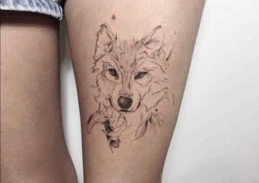 tatuajes de lobos siberianos lineas de diversos grosores