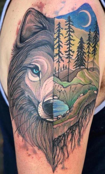 tatuajes de lobos solitarios ideas abstractas