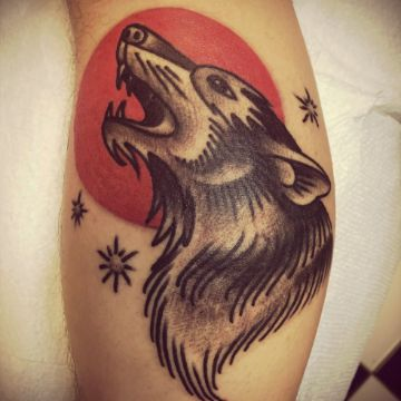 tatuajes de lobos solitarios tradicional