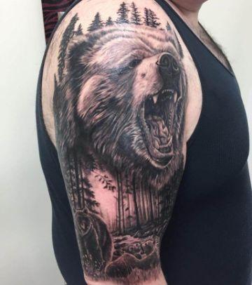tatuajes de osos pardos realista