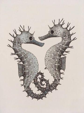 tatuajes caballitos de mar enamorados plantilla dotwork