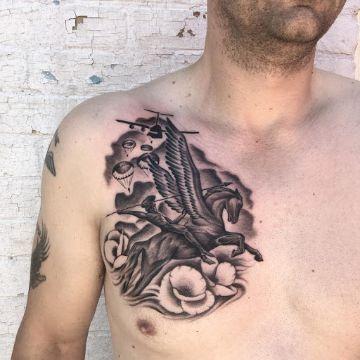 tatuajes de caballos con alas con guerrero