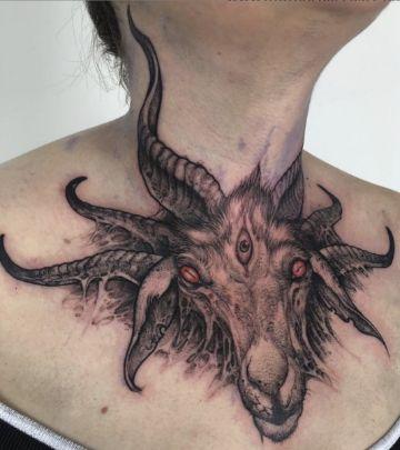 tatuajes de cabras satanicas en cuello