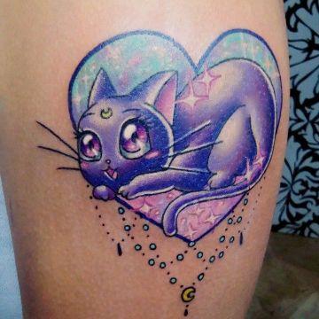 tatuajes de gatos con luna nueva escuela