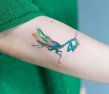 tatuajes de mantis religiosa relista y colorido