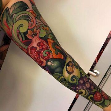 tatuajes de frutas y verduras mangas