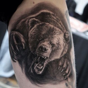 tatuajes de osos grizzly con efecto