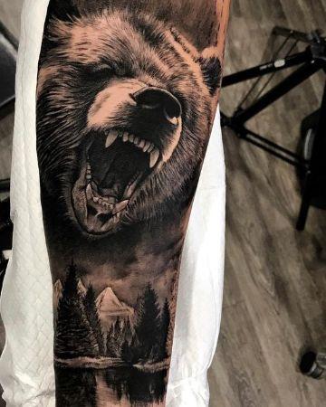 tatuajes de osos grizzly realista
