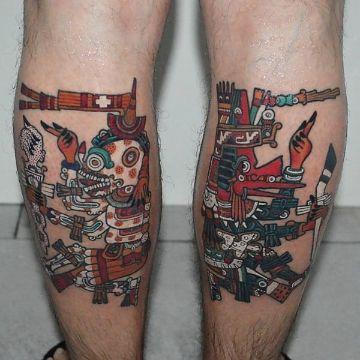 tatuajes de dioses aztecas al estilo codice