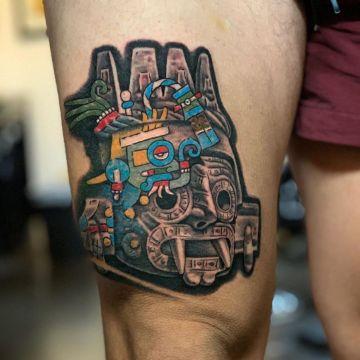 tatuajes de dioses aztecas mezcla de tonos