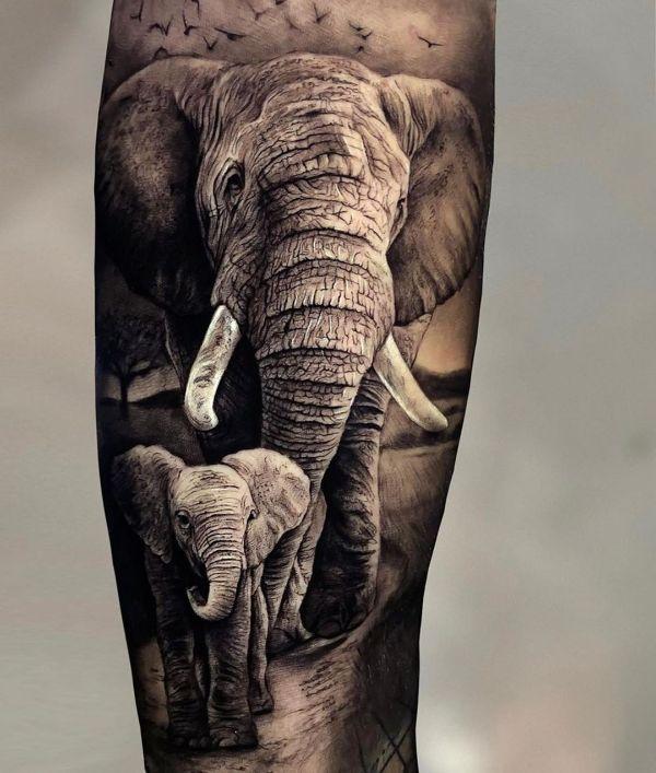 tatuajes de elefantes indios realistas