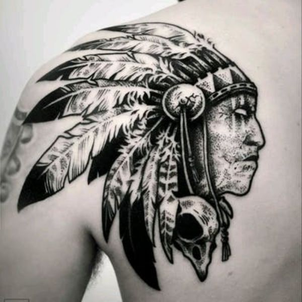 tatuajes de indios americanos textura dotwork