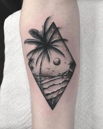 tatuajes de islas con palmeras base geometrica