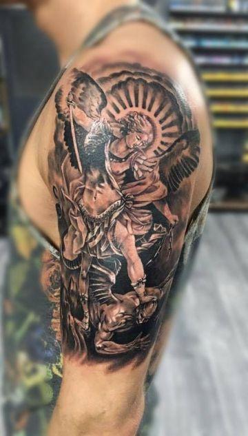 tatuajes de san miguel arcangel alta carga en detalles