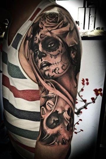 tatuajes de santa muerte con rostro