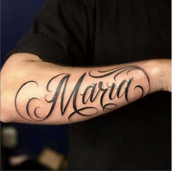 tatuajes con el nombre de maria letra elegante