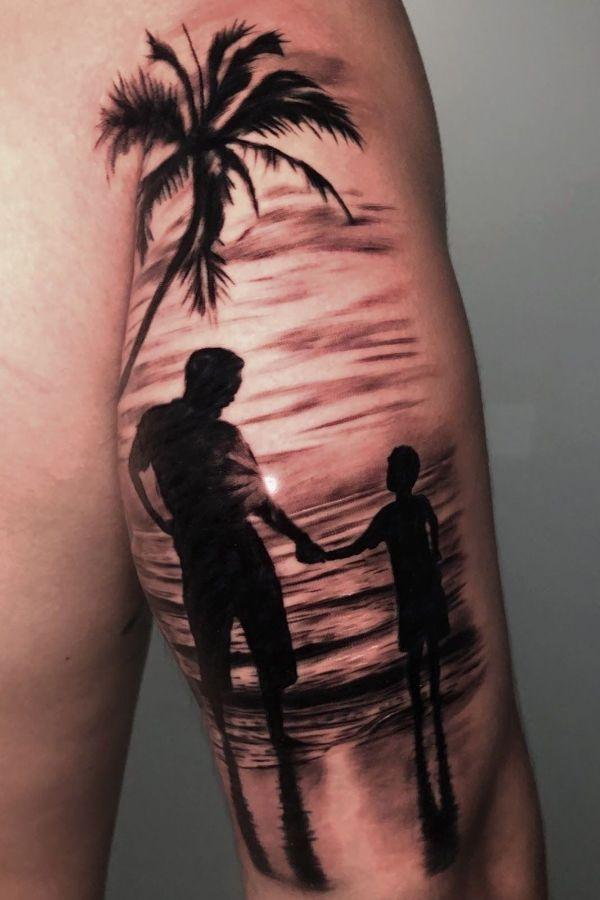 tatuajes de padre e hijo varon con paisajes