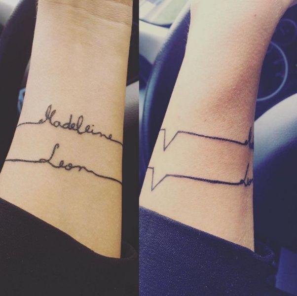 tatuajes de pulseras con nombres electrocardiograma