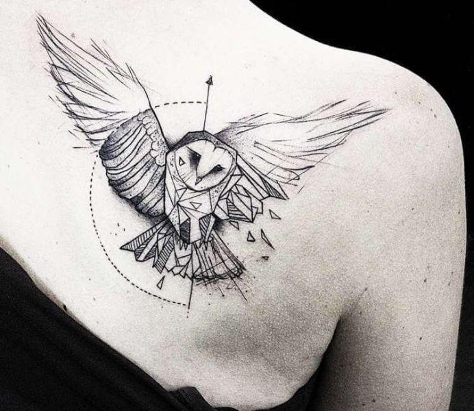 significado de tatuaje de buho diseño contemporaneo