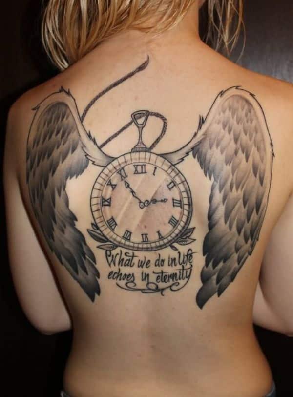 tatuajes de angelitos con frases en espalda