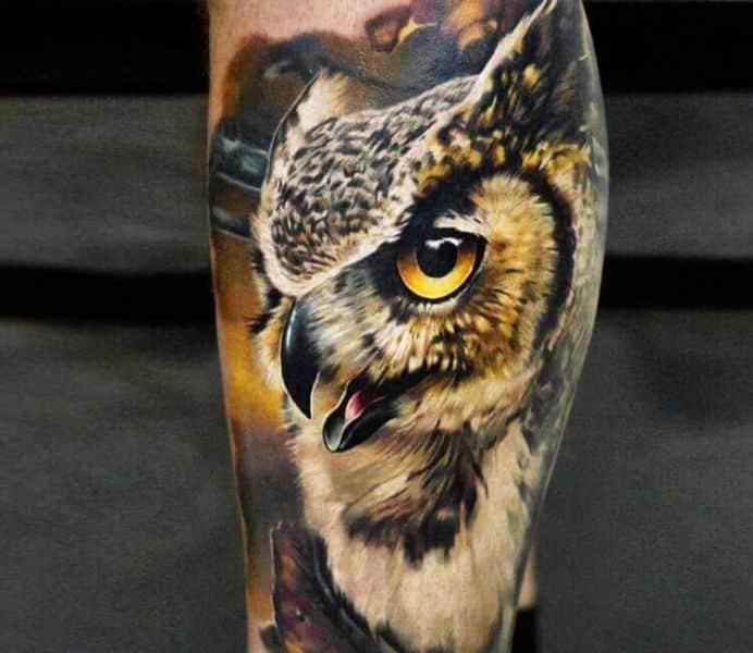 tatuajes de buhos para hombres alto detalle a color