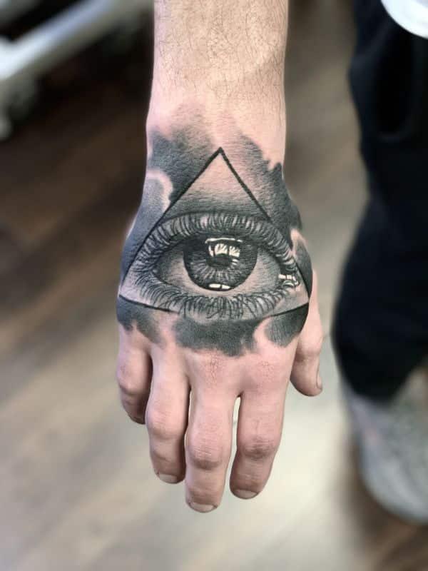 tatuajes de dios en la mano ojo