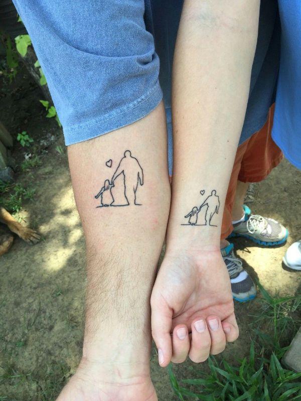 tatuajes de papa y hija para los dos lienzos
