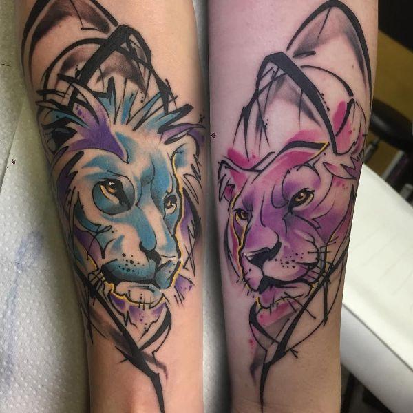 tatuajes de parejas de leones modernos