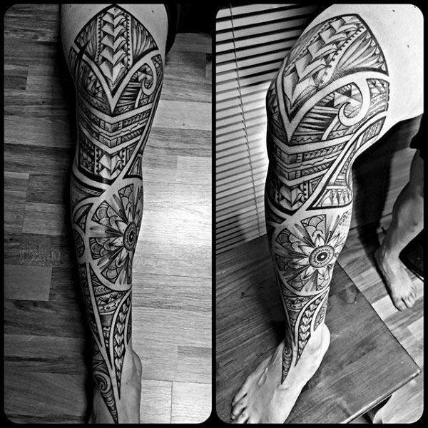 tatuajes para pantorrilla de hombre tribales