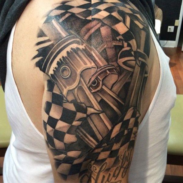 tatuajes de bandera a cuadros idea biomecanica