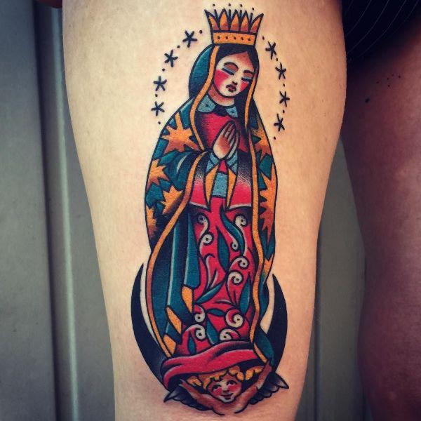 tatuajes de la virgen de guadalupe aspecto tradicional