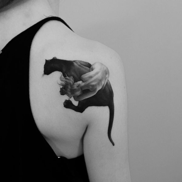 tatuajes de panteras para hombres en hombro