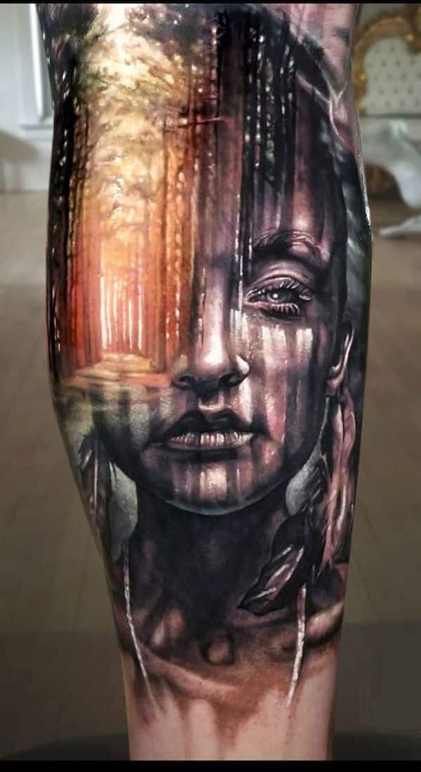 tatuajes de rostros en 3d geniales detalles