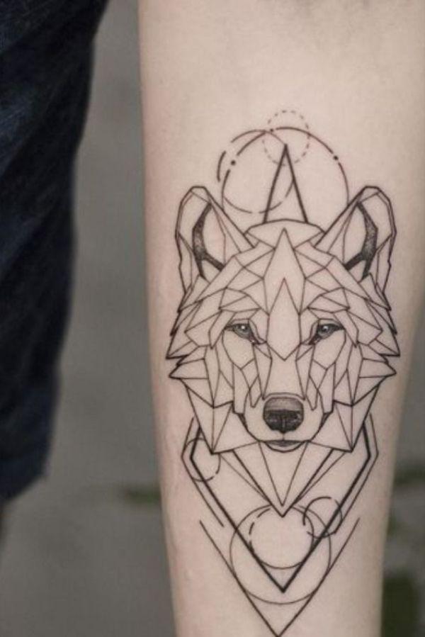 los mejores tatuajes de lobos geometrico